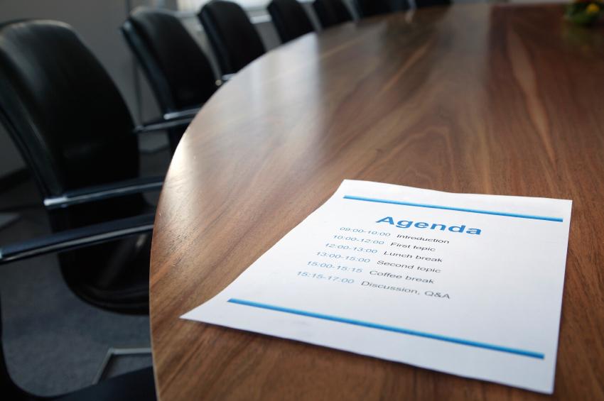Agenda on boardroom table